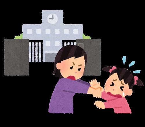 学校を嫌がる子供のイラスト(女の子)