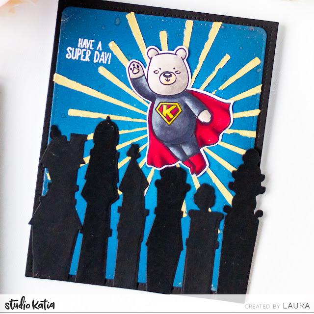 Night Scene Handmade Card feat Kobi the Super Bear