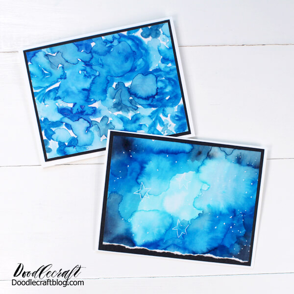 Greeting cards made with a galaxy watercolor background using pantone color of the year: classic blue.