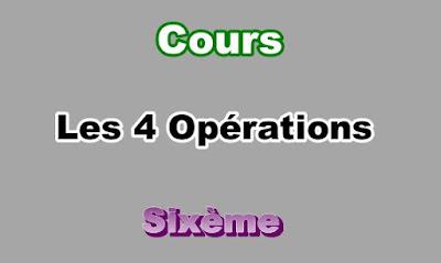 Cours des Opérations 6eme en PDF