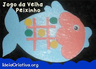 Jogo da velha em formato de peixinhos com molde
