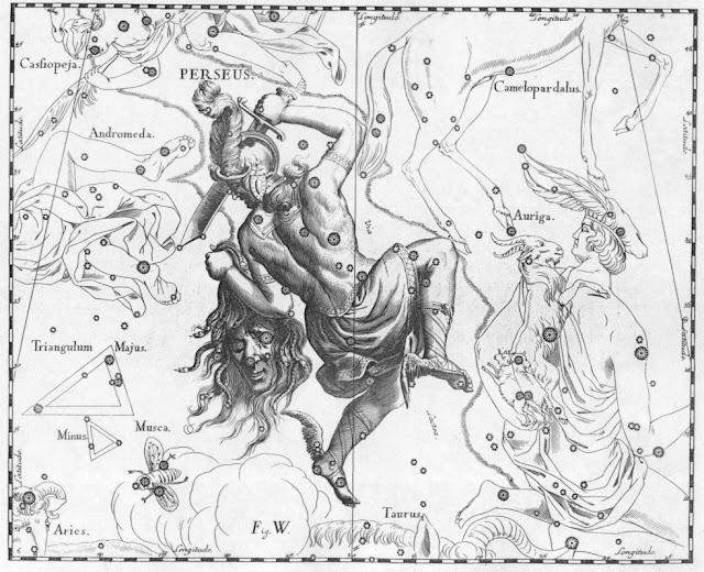 Hình ảnh chàng dũng sĩ Perseus cầm trên tay cái đầu của nữ quỷ Medusa trong bộ họa phẩm Uranographia vẽ bởi họa sĩ thiên văn Johannes Hevelius vào năm 1690.