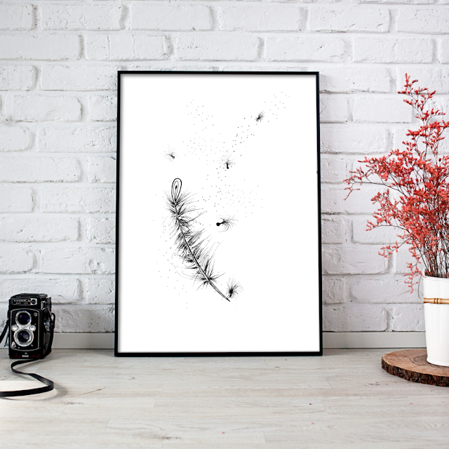 Feather Ink Art Illustration