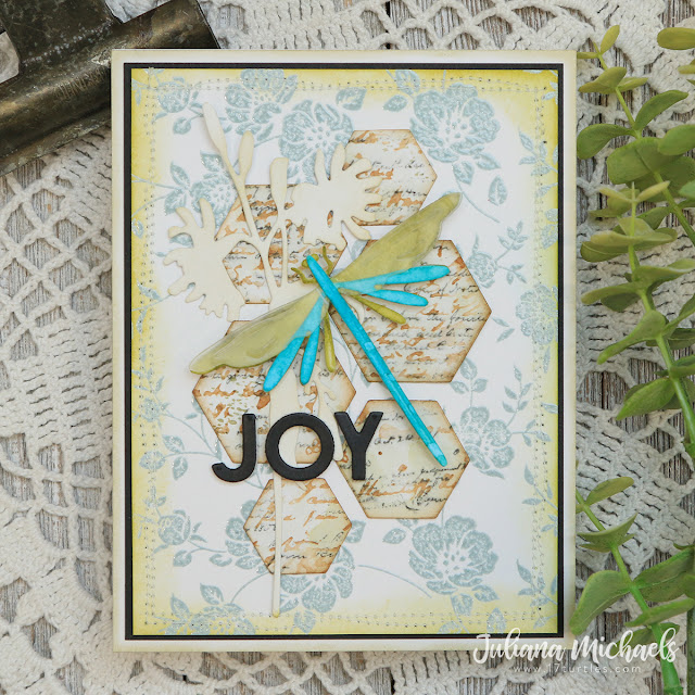 Joy Card by Juliana Michaels featuring Tim Holtz Funky Insects Thinlits
