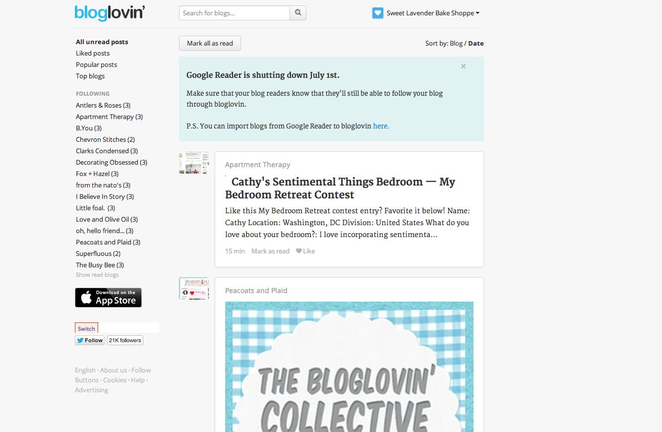 Sweet Lavender Bake Shoppe: what's going on Google Reader +