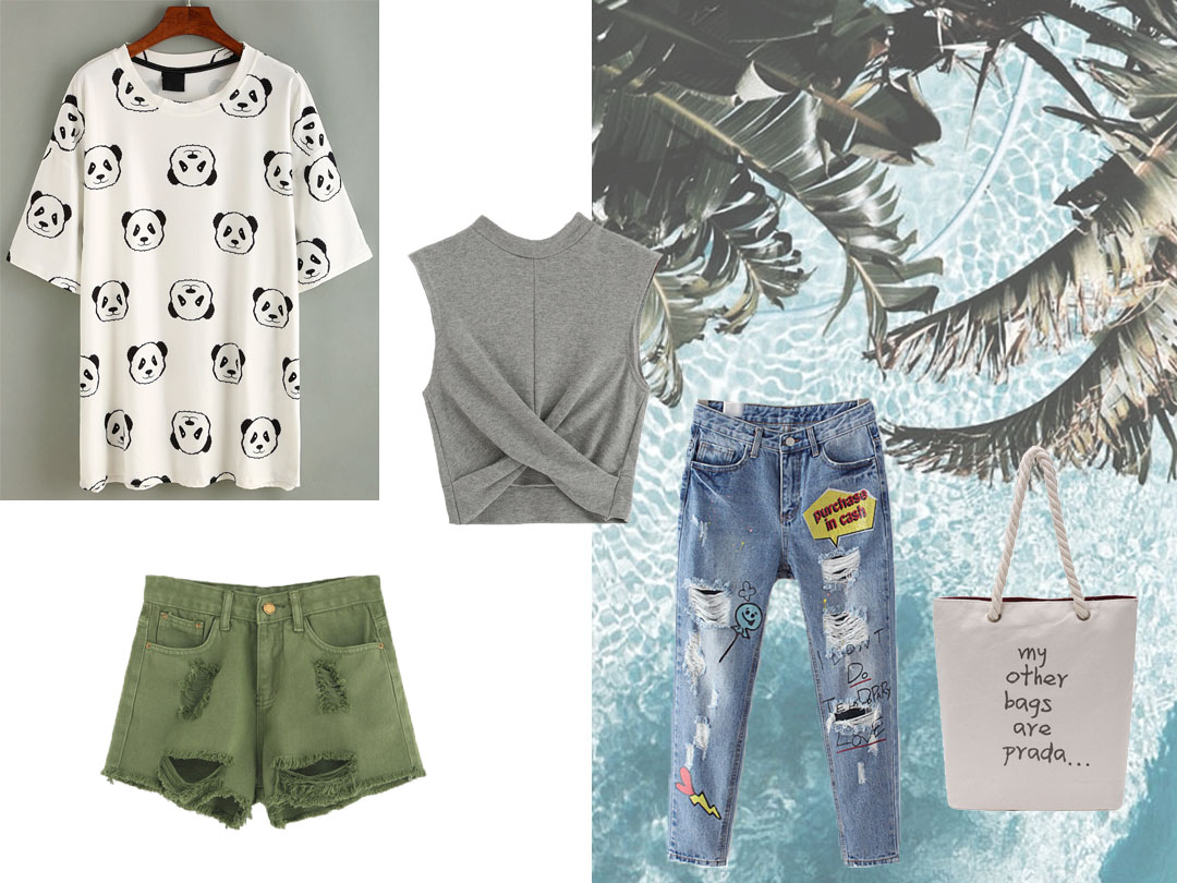 Sheinside, shein, wishlist, summer 2016, panda t-shirt, patch jeans, beach bag, belgian blogger, belgische blogger