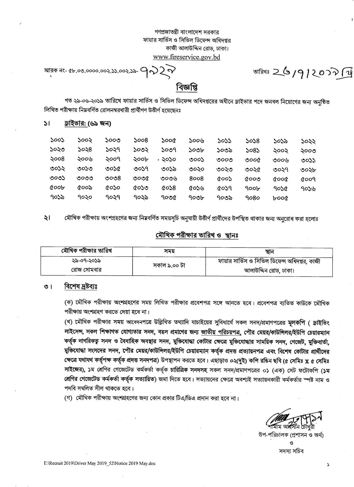 Bangladesh Fire Service Job Result 2019