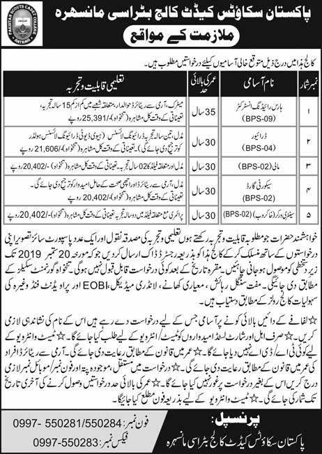Jobs in Pakistan Scout Cadet College Mansehra