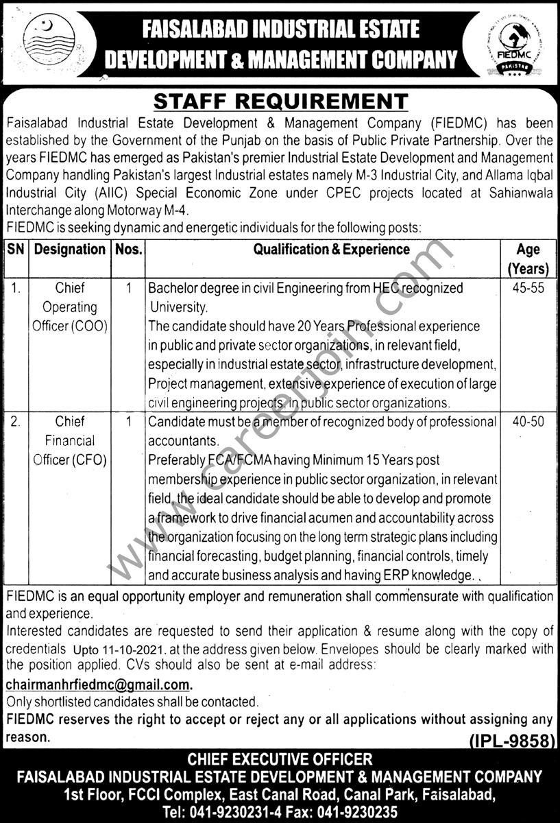 Faisalabad Industrial Estate Development & Management Company FIEDMC Jobs 2021