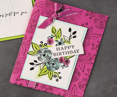 Have a go at creating this gorgeous card made using the Perennial Birthday stamp set plus Berry Burst Cardstock and Classic Stampin' Pad by Stampin' Up!