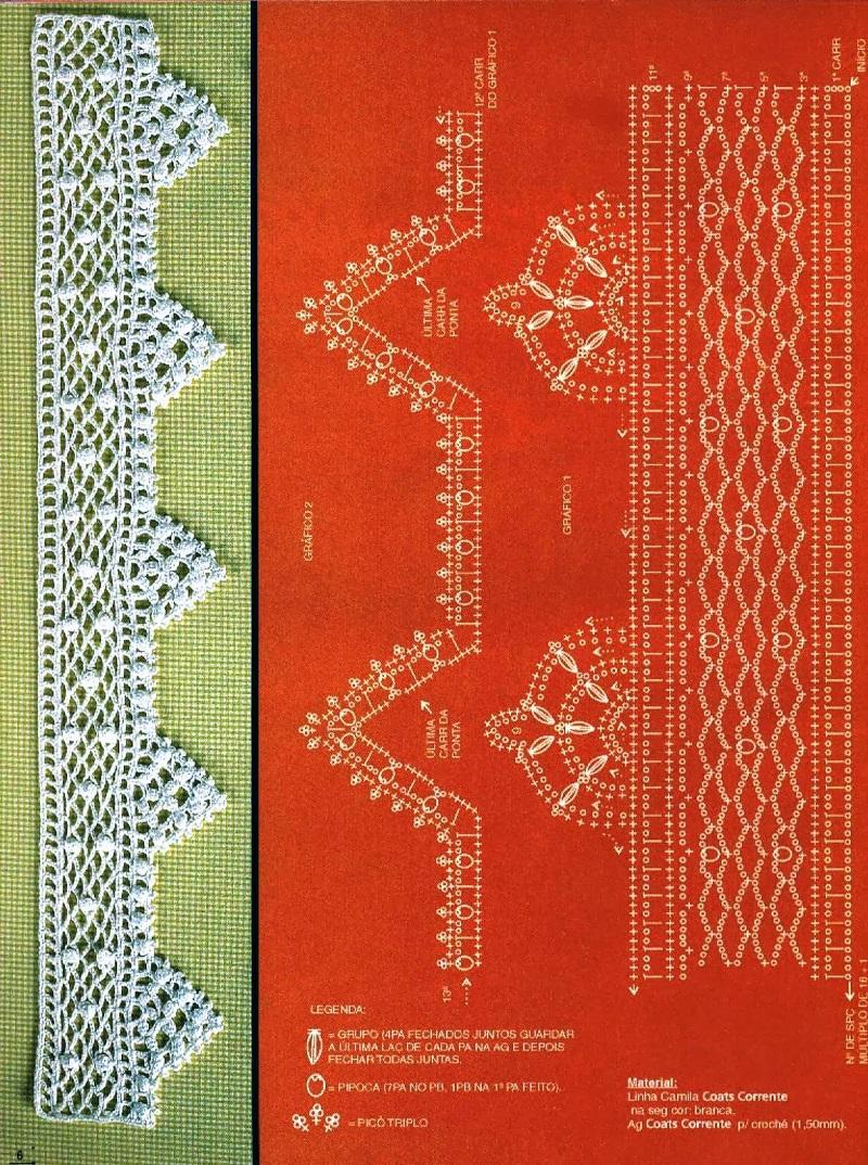 Bicos de Crochê Com Gráfico 3 - Barradinhos - Coleção Bordados Modernos
