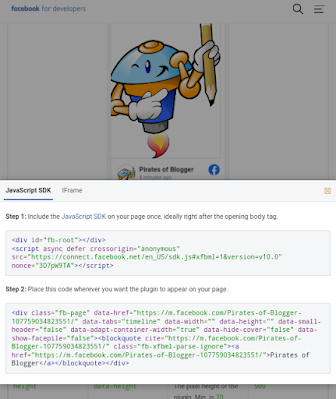 Code to display facebook page in blogger