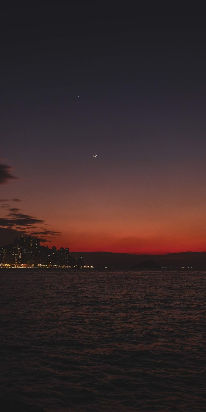 Crescent moon in the sunset