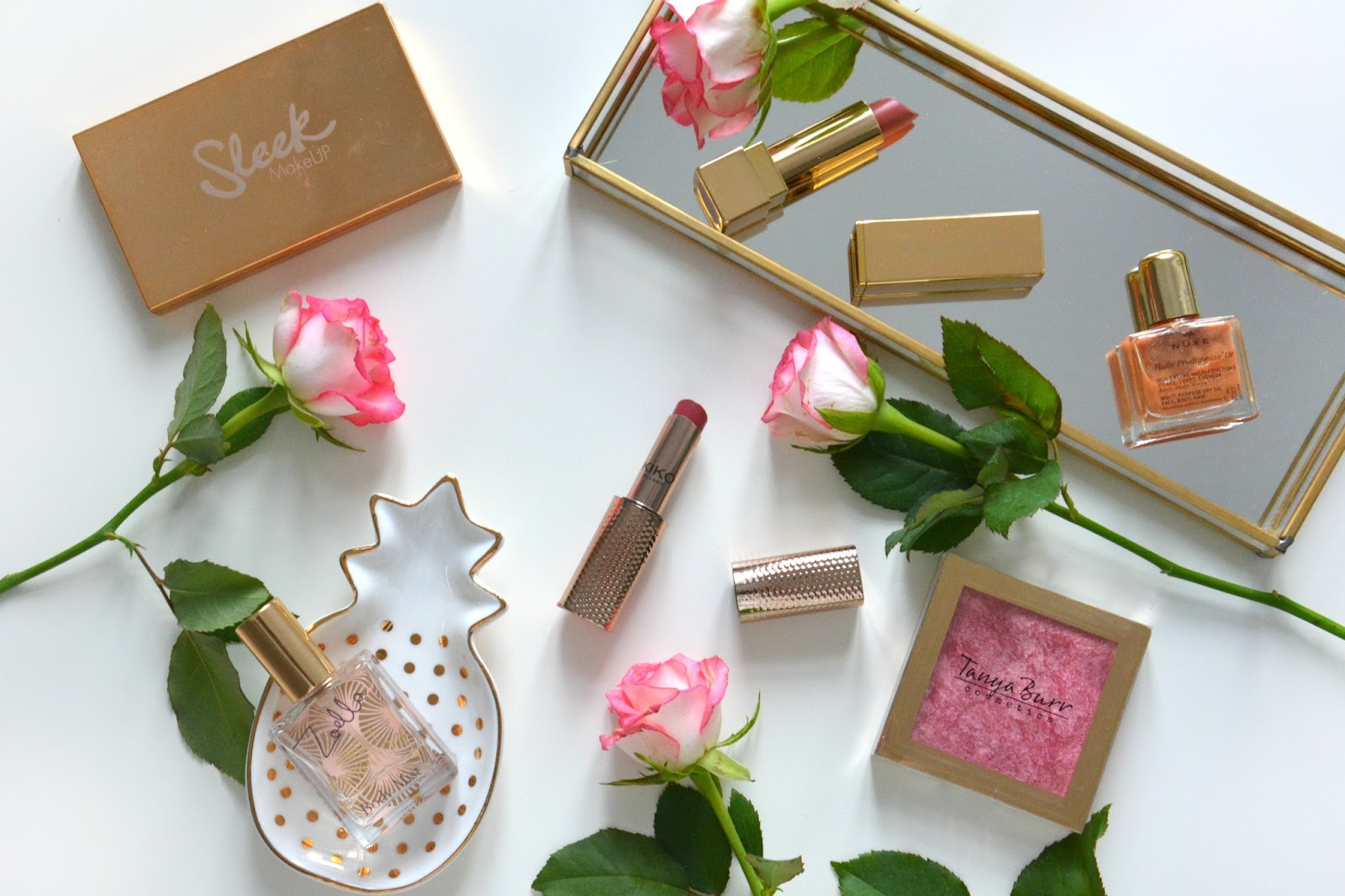 Sleek Solstice Highlighting Palette; Zoella Sweet Inspirations Beauty Mist; Tanya Burr Lipstick; Kiko Lipstick; Nuxe Oil; Tanya Burr Highlighter; Fresh Pink Roses