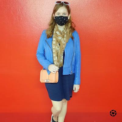 awayfromtheblue Instagram   masked up shopping trip cobalt leather jacket navy stripe tee dress skull scarf peach bag