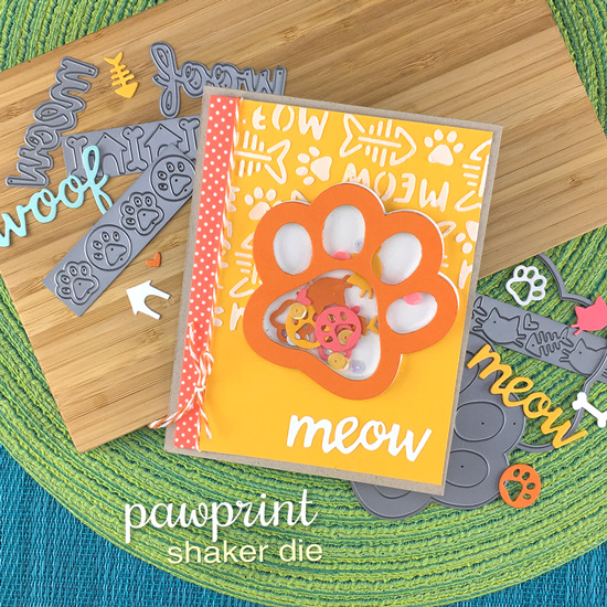 Pawprint Shaker Card by Jennifer Jackson | Cat-itude Stamp Set, Pawprint Shaker Die & Meow Stencil by Newton's Nook Designs #newtonsnook #handmade
