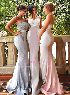 Lace Sweep Train Sleeveless Sweetheart Evening Gowns Cheap Sexy Mermaid Bridesmaid Dress