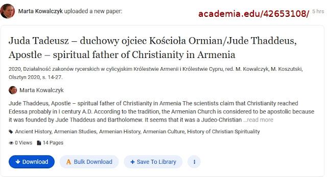 https://www.academia.edu/42653108/Juda_Tadeusz_duchowy_ojciec_Ko%C5%9Bcio%C5%82a_Ormian_Jude_Thaddeus_Apostle_spiritual_father_of_Christianity_in_Armenia