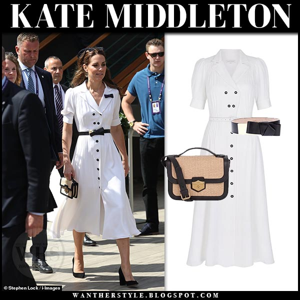 Kate Middleton in white midi dress with black belt at
