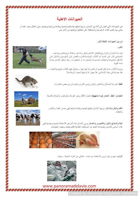 بحث حول الحيوانات الاهلية و علاقة الانسان بها و نمط عيشها و مجلات الاستفادة منها