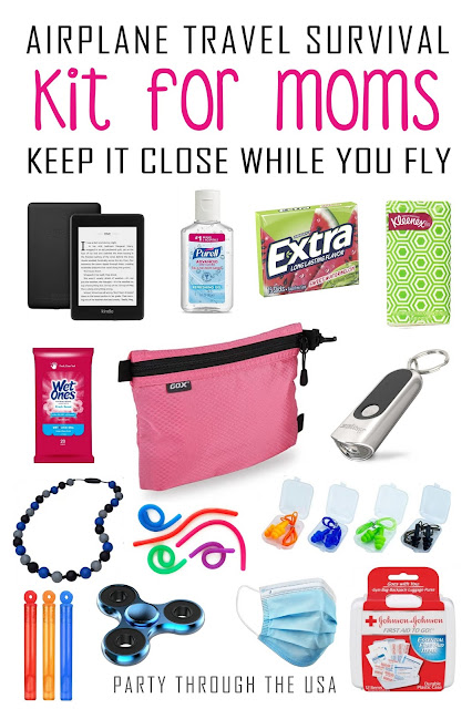A list of items for moms to carry on the plane for keeping herself and the kids clean, entertained, healthy, and happy.