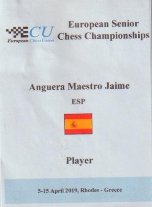 Tarjeta de Jaume Anguera del Campeonato Europeo de Veteranos Rhodes-2019