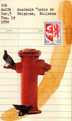 Auch french postage stamp coat of arms lion lamb of god fire hydrant with pigeons roosting library due date card Dada Fluxus mail art collage