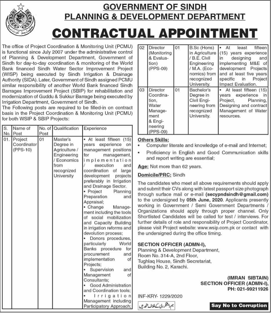Jobs in Planning & Development Department Govt of Sindh 15 May 2020
