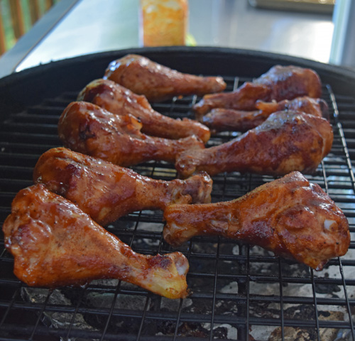 BBQ chicken legs on the Big Green Egg
