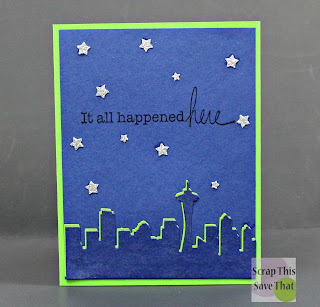 Unity Stamps, Stamping, Die cuts, blue, green, Seattle, Space Needle