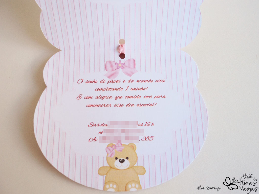 convite artesanal provençal floral ursinho cabeça urso menina 1 aninho