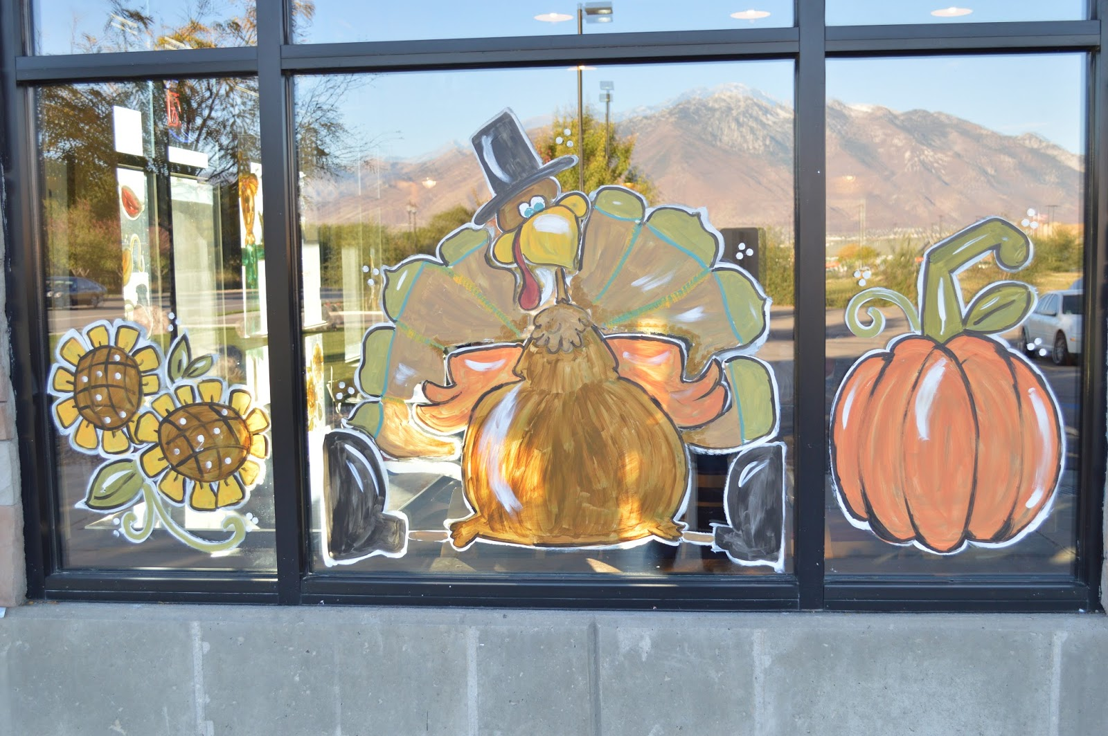 Glass Canvas Window Painting: Rock Creek Pizza- Thanksgiving