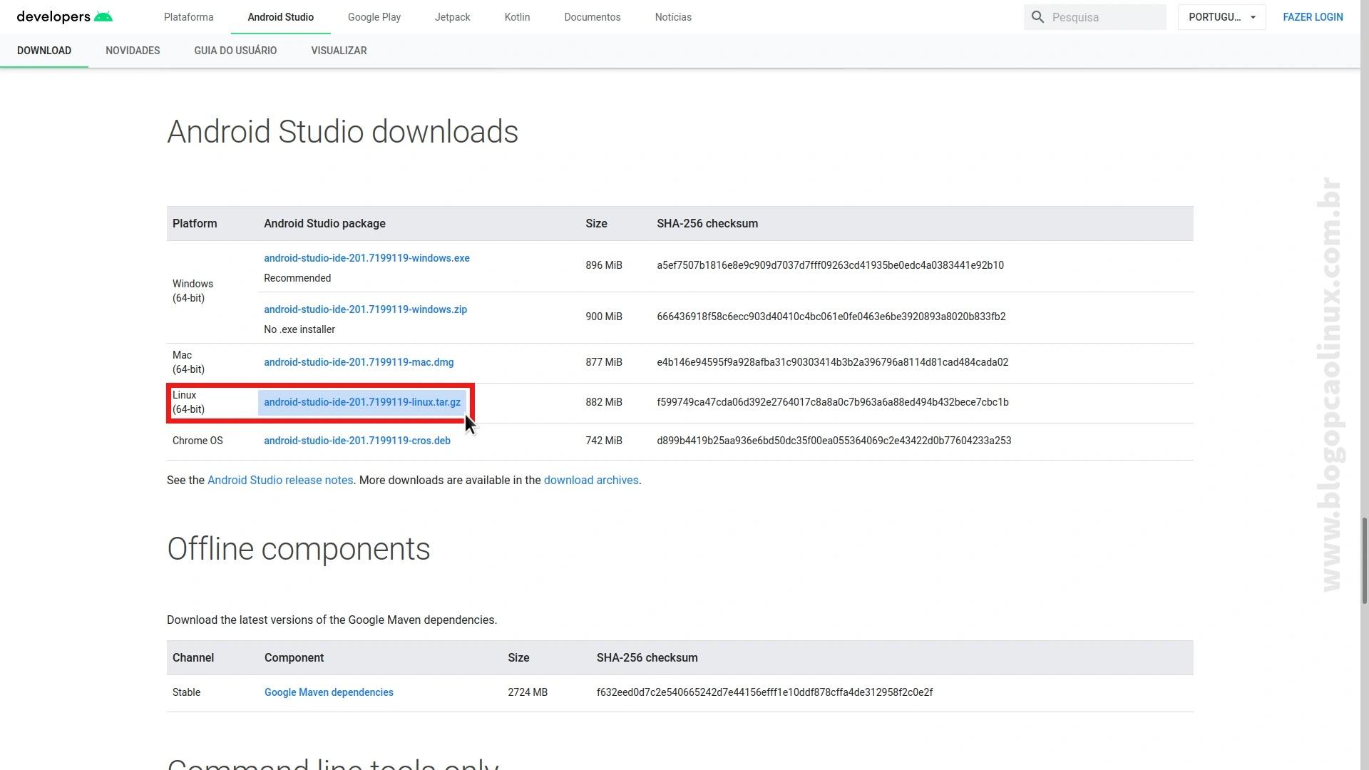 Faça o download do Android Studio