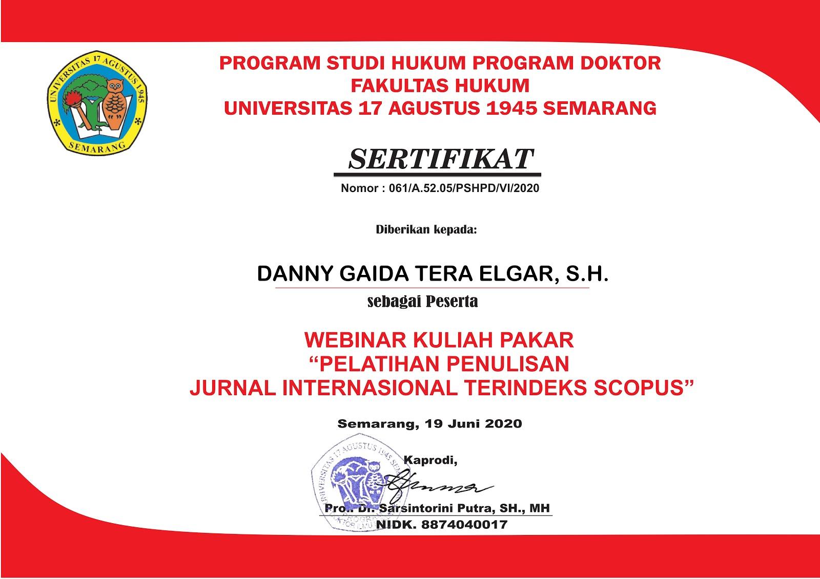 Sertifikat Penulisan Jurnal Internasional Terindeks Scopus | Program Studi Hukum Program Doktor (S3) Fakultas Hukum Universitas 17 Agustus 1945 (UNTAG) Semarang | 19 Juni 2020