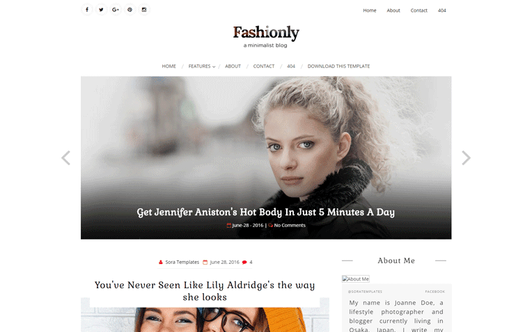 Fashionly Free Blogger Template