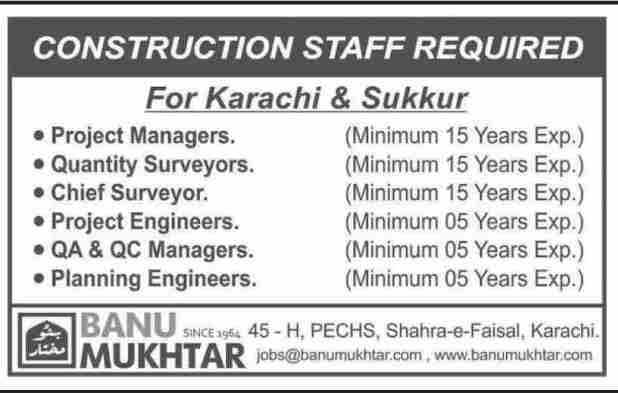 Banu Mukhtar Construction Company Jobs For Project Manger, Quantity Surveyor
