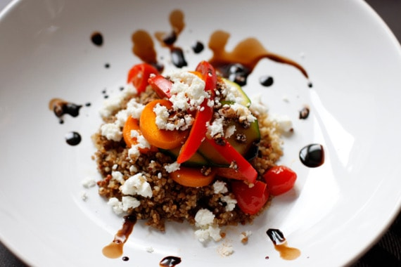 Mediterranean Quinoa Salad with a Balsamic reduction #creativegreenliving#christmasdinnerideas