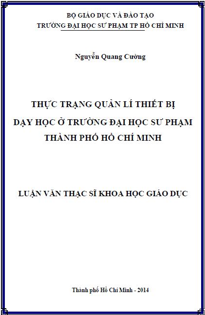 Thực trạng quản lí thiết bị dạy học ở trường Đại học Sư phạm Thành phố Hồ Chí Minh