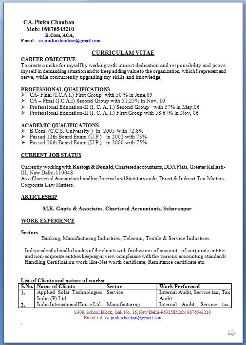 Sample Resume In Word Resume
