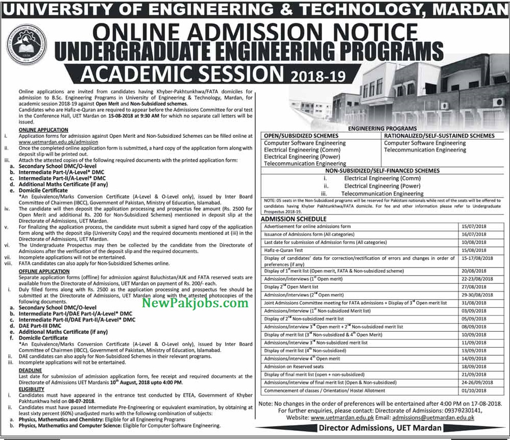 Admissions Schedule for UET
