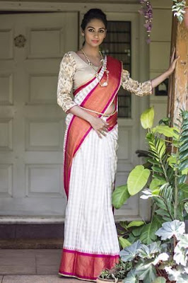 Beautiful Dusky Indian Model Girl In Off White And Beige Checked Pattu Silk Saree