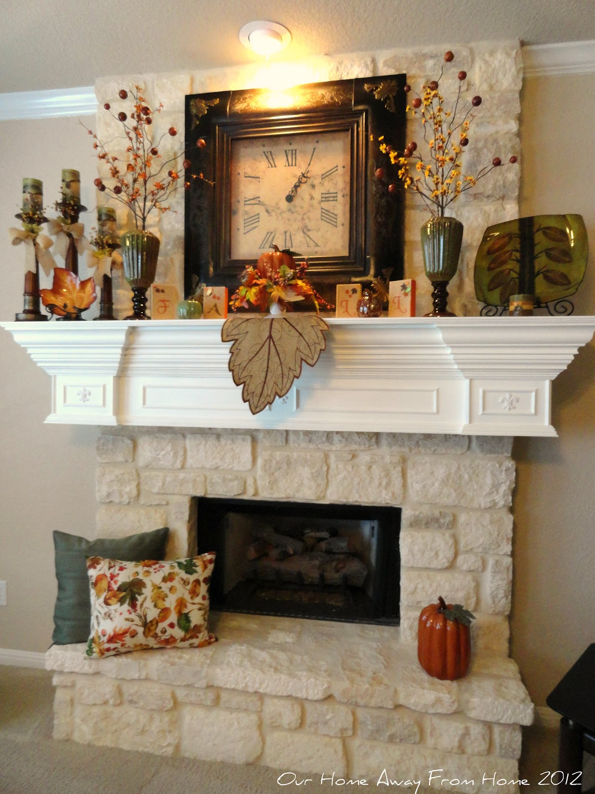 Our home away from home our fall mantle 2012 - Decor above fireplace mantel ...
