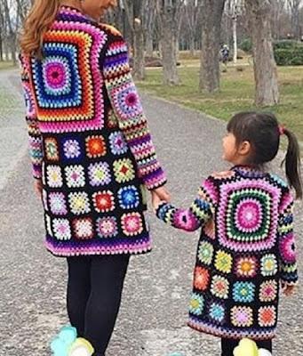 Kaleidoscope cardigan- Granny square. Crochet pattern