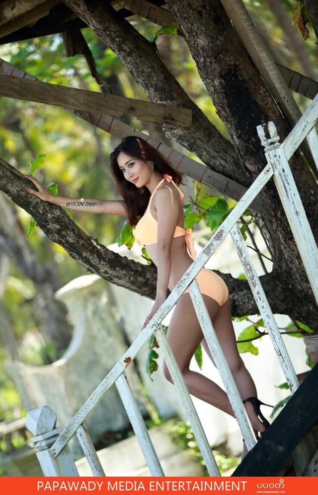 Orange Lady Lu Lu Aung In Swim Suit Fashion Photoshoot