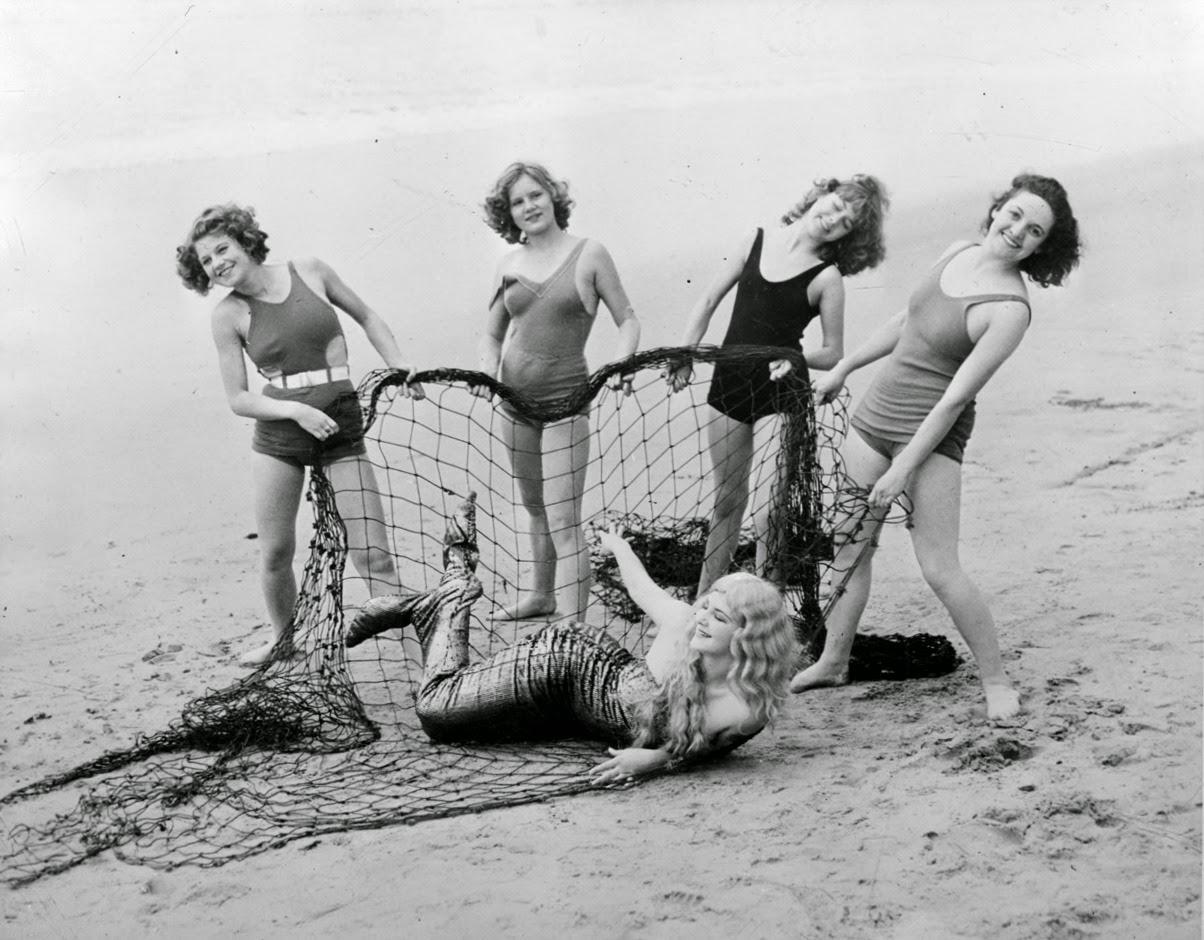 Bathing Girls Catch Mermaid On California Beach 1933