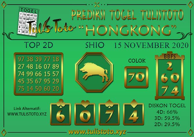 Prediksi Togel HONGKONG TULISTOTO 15 NOVEMBER 2020