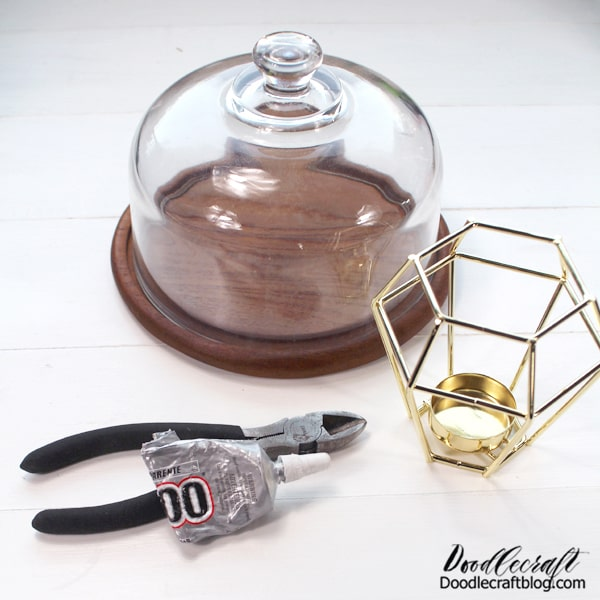 Supplies Needed for Geometric Cake Stand: Cheese Cloche Geometric Tea Light Candle Holder Wire Cutters and Hammer E6000 Glue