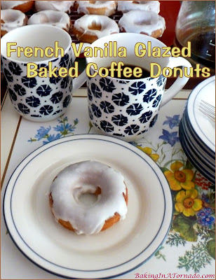 "Nothing says ""morning"" like coffee and donuts. They're married together in these French Vanilla Glazed Baked Coffee Donuts. 