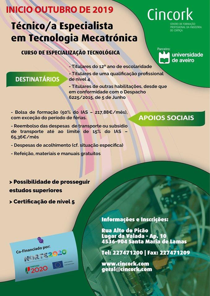 Curso de Técnico/a Especialista em Tecnologia Mecatrónica – Sta Maria de Lamas (bolsa até 217,88€/mês)
