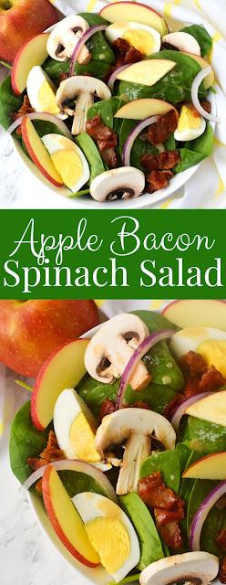 Bacon Apple Spinach Salad with Dijon Vinaigrette